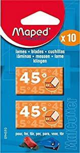 Maped MatCutter 45 Degree Replacement Blades for Beveled Cuts, 10 Steel Blades per Pack (094593)