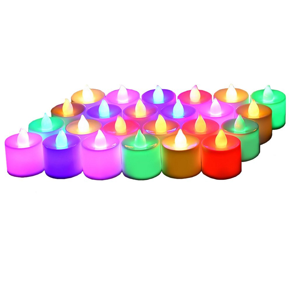 24 Pack Flameless Tealight Candles - 7 Color Changing Battery Operated Led Tea Lights – Electronic Fake Candles – Decorations for Wedding, Party, Christmas, Halloween (7 color changing)