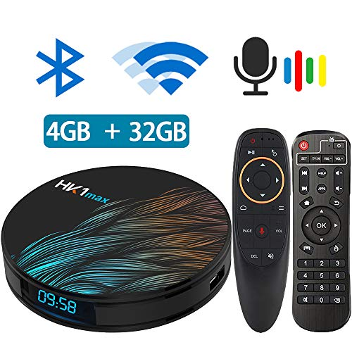 Android TV Box 9.0, Android TV Box RK3318 5.8G 2.4G Dual Band WiFi 4GB 32G Bluetooth 4.1 and Google Assistant Air Mouse with Gyro Media Player 3D 4K HD Resolution Set Top Tv Box (The Best Media Player For Android)