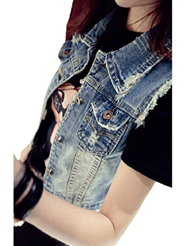 Sleeveless Denim Jeans (Locryz Womens Cropped Ripped Sleeveless Jean Jacket Denim Vest Blue XL)