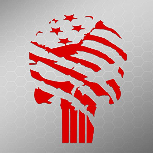 Price comparison product image American Flag Punisher Vinyl Decal Sticker | Car Truck Van Wall Laptop | Red | 5.5 In | KCD678R