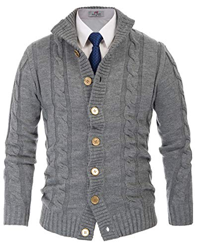 13d80b7b91 PAUL JONES Men s Stylish Stand Collar Cable Knitted Button Cardigan Sweater