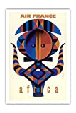 Pacifica Island Art Africa - France - African Tribal Motif - Vintage Airline Travel Poster by Jaques Nathan-Garamond c.1960s - Master Art Print - 12in x 18in