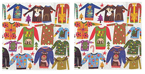 Ugly Sweaters Ideas (Holiday Patterned Disposable Luncheon Napkins (2 Pack)- Ugly Christmas Sweaters)