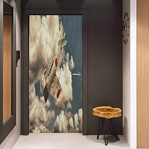 (Onefzc Door Wallpaper Murals Airplane Old School Plane Flying Between Clouds Model Aviation Traveling Illustration WallStickers W32 x H80 Cream Blue Red)