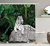 KANATSIU White Tiger On Tropic Plants Leaves Jungle Majestic Creature Wildlife Shower Curtain,with 12 plactic hooks,100% Made of Polyester,Mildew Resistant & Machine Washable,Width x Height is 60x72