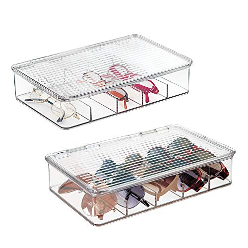 eb5f39738c23 mDesign Plastic Rectangular Stackable Eye Glass Storage Organizer Holder  Box for Sunglasses