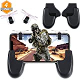Jetec 4 Pieces Mobile Game Controller and Gamepad Sensitive Shoot and Aim Buttons Shooter Controller Handle Holder Handgrip Stand for PUBG/Knives Out/Rules of Survival