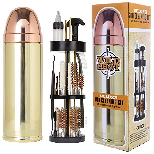Wild Shot Deluxe Gun Cleaning Kit with Aluminum Bullet-Shaped Storage Case, Cleaning Tools to Effectively Maintain Handguns, Shotguns and Rifles