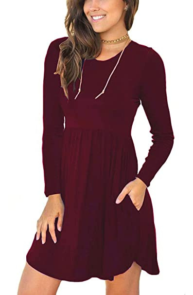 bbee120f59d4 Alizco Women s Long Sleeve Loose Plain Dresses Casual Short Swing Dress  with Pockets Wine Red S