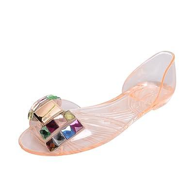 Dear Time Jelly Shoes Women Summer Bowtie Slip On Peep Toe Sandals