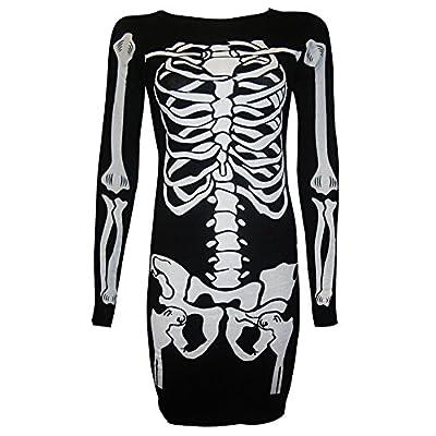 Janisramone Womens Ladies New Halloween Skeleton Skull Bones Print Bodycon Tunic Top Bodysuit Jumpsuit Dress