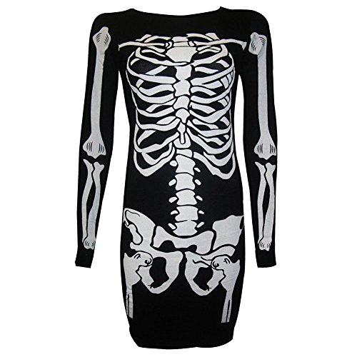 [Ladies Women Halloween Skeleton Skull Bones Print Bodycon Tunic Dress Costume] (Womens Skeleton Halloween Costumes)