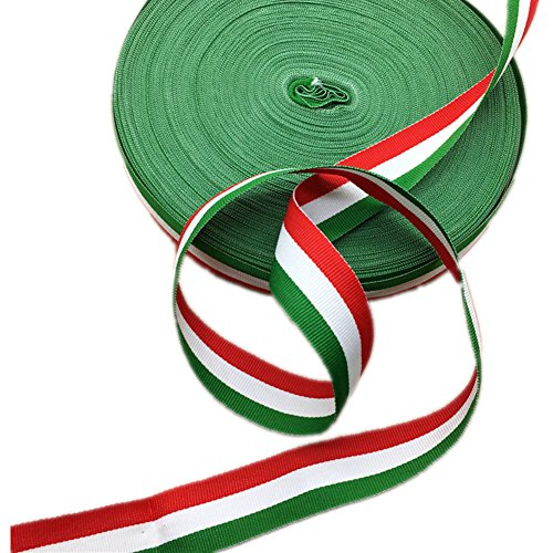 (Red White and Green Grosgrain Stripes Ribbon Italian Flag Patriotic Ribbon Belt for Christmas Holiday Party Decoration 50)