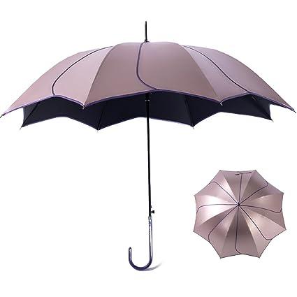 Paraguas de Viaje Sunny Rain Doble Uso Sombrilla de Mango Largo Pétalo Sombrilla Protector Solar Refugio