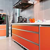 yazi Drawer Wardrobe Shelf Liner Gloss Self Adhesive PVC Kitchen Cupboard Door Cover ,24x98 Inch,Orange