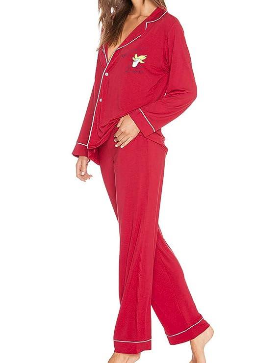 dc0a22e295 FANCYINN Pjs for Teen Girls Cute Cartoon Print Pajama Sleepwear Set at  Amazon Women s Clothing store