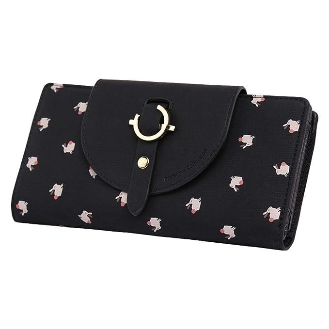 fc93eb7b522e Women Lovely Long Leather Zipper Coin Hasp Fashion Animal Wallets ...
