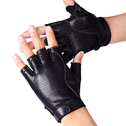 - Popuglove Mens Fingerless Faux Leather Driving Gloves The Palm With Pad Half Finger Porous Cycling Motorcycle Fitness Outdoor Sport Gloves Black L