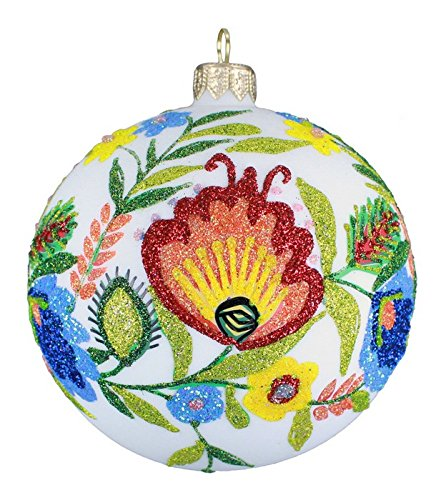 Blown-Glass Ball Ornament - Lowicz Folk Art 4 in