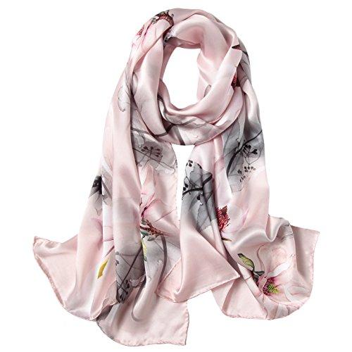 Women's 100% Mulberry Silk Scarf Floral Print Satin Long Scarf Wrap Shawl (xtrm01)