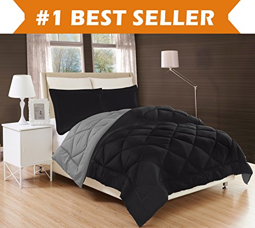 Elegant Comfort All Season Comforter and Year Round Medium Weight Super Soft Down Alternative Reversible 3-Piece Comforter Set, Full/Queen, Black/Grey