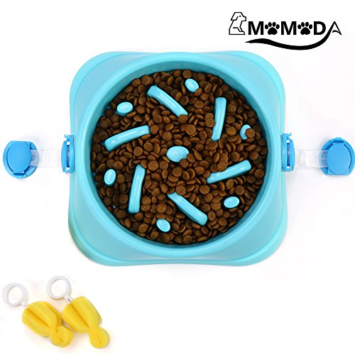 Slow Feeder Bowl, Fun Feeder Interactive Bloat Stop Dog Bowl, Free 2Pcs Cleaning Sponge with 2Pcs Fixed Buckle