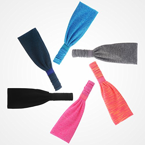 6 Pieces Sport Headband Yoga/Cycling/Running /Fitness Exercise Hairband Elastic Sweatband for Unisex by Leoter (Image #1)