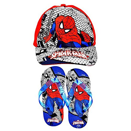 Spiderman Childrens/Kids Official Baseball Cap & Flip Flops Summer Gift Set (US Child 13-1) (Red/Blue)