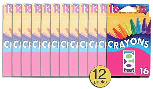 Wholesale Crayon - Set of 12 Packs - Geddes Wholesale Discount Crayons Washable 16 ct - Bulk