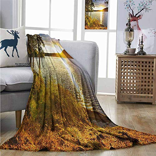 Homrkey Warm Microfiber All Season Blanket Landscape Sunset Dawn in The Forest Over Lake of Two Rivers Algonquin Park Ontario Canada Plush Throw W51 xL60 Multicolor