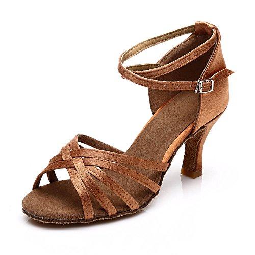 Zapatos de 7cm Latinos Baile ES7 Zapatos satén Mujeres Marrón HROYL F13 de tCwqBXxta