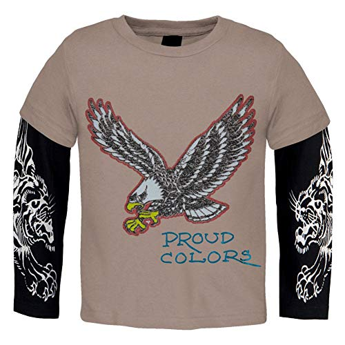 (Ed Hardy - Eagle Proud Colors Juvy 2fer Long Sleeve T-Shirt - Juvy 5/6)