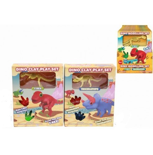 KT Dino Modelling Set - Create Your Own Dinosaur! - T-Rex and Triceratops Playset -