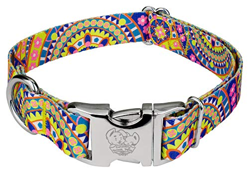 Premium Patterned Dog Collars - Country Brook Petz | Yellow Boho Mandala Premium Dog Collar - Groovy Collection with 5 Far Out Designs (5/8 Inch, Small)