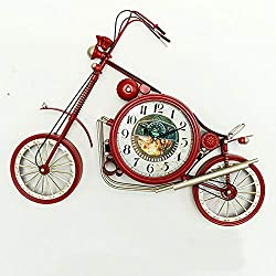 Wrought Iron Metal Wall Clock, Wall Decoration Bicycle Hanging Clock Retro Living Room Silent Vintage Table Clock for Children-red A