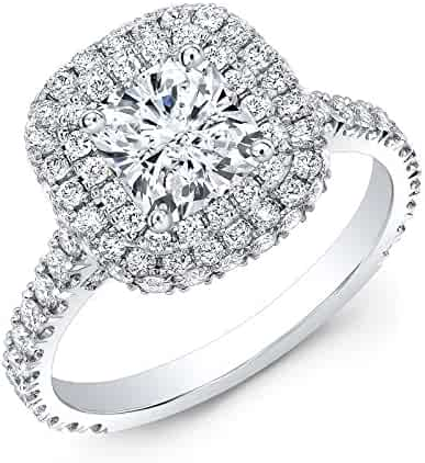 4f567f52066312 DIAMOND MANSION Lovely Natural Cushion Cut Double Halo Micro Pave Diamond  Engagement Ring - GIA Certified