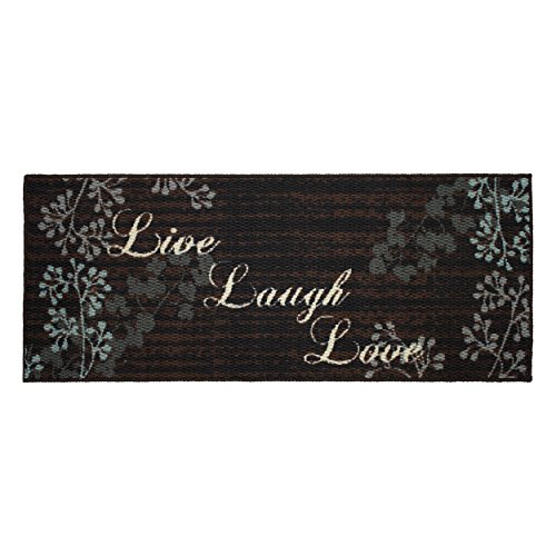 Structures Textured Loop 20 x 48 in. Runner Kitchen Accent Rug, Live Laugh Love, Brown/Black/Blue