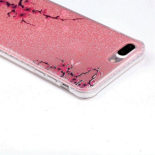 Funda iPhone 7 Plus Sunroyal - Funda de Silicona de gel TPU Semitransparent Flexible Carcasa iPhone 7 Plus Ultra Delgada Caja del Teléfono , Resistente a los Arañazos , Amortigua los Golpes , Protecto D-10