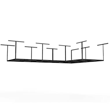 FLEXIMOUNTS (2 4x8 Rack Package Heavy Duty Overhead Garage Adjustable Ceiling Storage Rack, 96  Length x 48  Width x 40  Height (2-Rack-Package Black)