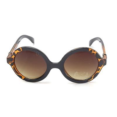 9353ab3b0dad8b Accessoryo - noir rétro deux tons des lunettes de soleil rondes imprimé  léopard ...