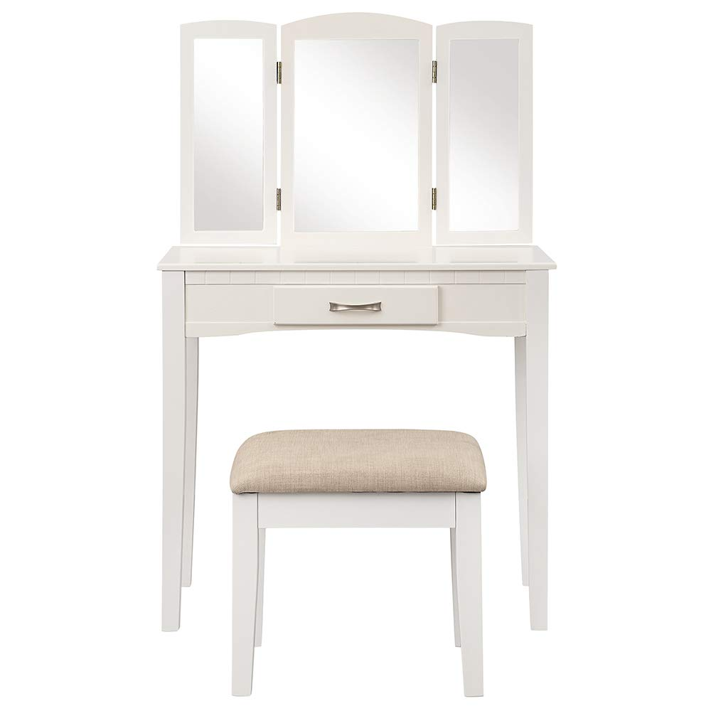 Romatlink Dressing Desk, Vanity Table Set Makeup, Cushioned Stool Set Multi-Faceted Mirror Multi-Angle Reflection Multifunction,Experience, Tri-Folding Mirror Vanity Table