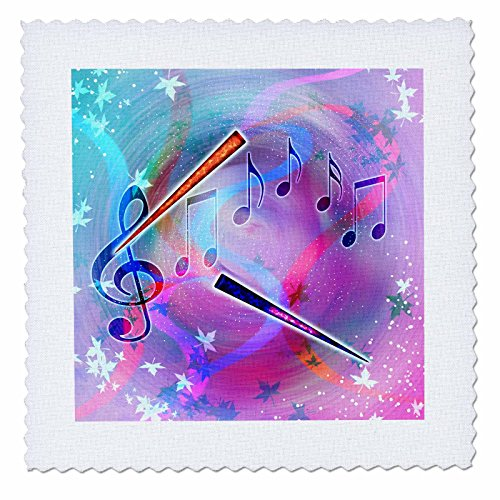 Custom Color Flutes (3dRose Dream Essence Designs Music - Musical themes of notes, treble clef, pastel colors and flutes. - 10x10 inch quilt square (qs_212831_1))