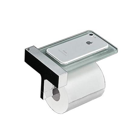 Toilet Roll Holder With Glass Shelf Wall Mountedsolid Brassglass