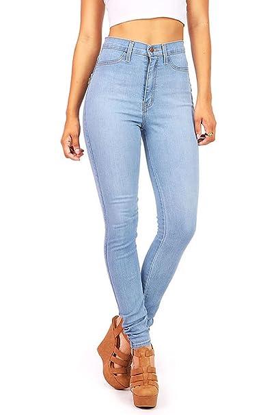 Amazon.com: Vibrant - Pantalones vaqueros para mujer con ...