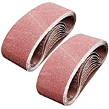 Monster & Master Abrasive Belt Set 3x21 inches Aluminum Oxide Sanding Belt (60/80/100/120 Grits), for Sanding and…