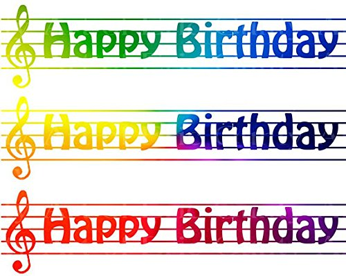 Rainbow-Birthday-Music-Band-Notes-Cake-Side-Designer-Strip-Edible-CakeCupcake-Party-Topper