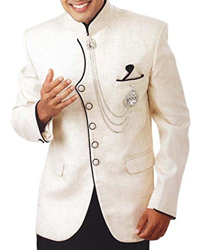 INMONARCH Mens Ivory 4 Pc Tuxedo Suit Indian Designer ivory TX952R36 from INMONARCH