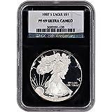 1987 S American Silver Eagle Proof $1 PF69 UCAM - 'Retro' Black Core NGC
