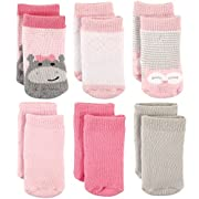 Luvable Friends Baby Basic Socks, 6 Pack, Hippo, 6-12 Months